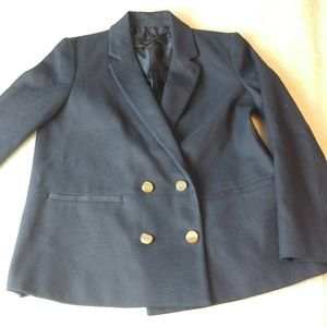 Zara basic navy blue four button blazer medium